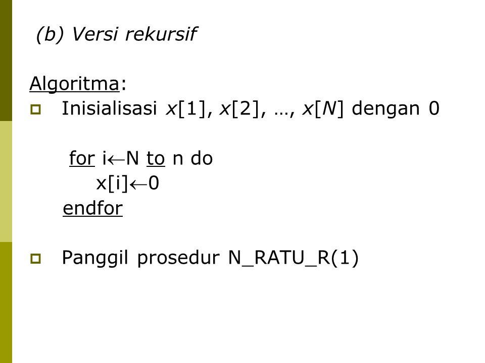 (b) Versi rekursif Algoritma: Inisialisasi x[1], x[2], …, x[N] dengan 0. for iN to n do. x[i]0.